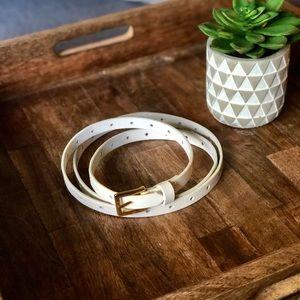 J Crew Skinny White Leather Belt w/ Gold Buckle